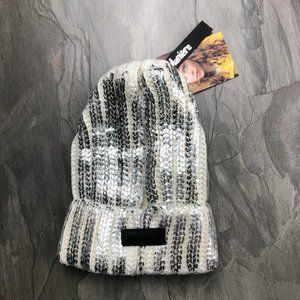NWT Maniere White Foil Stamped Ribbed Knit Beanie